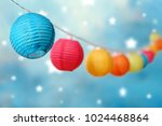 colorful round lampions light... | Shutterstock . vector #1024468864