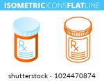 the pill bottle. isometric flat ... | Shutterstock .eps vector #1024470874