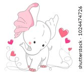 cute white elephant. hand drawn ... | Shutterstock .eps vector #1024474726