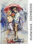 Watercolor Love Couple Under...