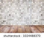 wooden table top over geometric ... | Shutterstock . vector #1024488370