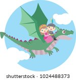 cute little boy and girl flying ... | Shutterstock .eps vector #1024488373