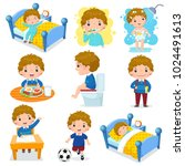 illustration of daily routine... | Shutterstock .eps vector #1024491613