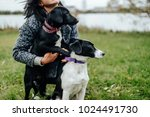 Small photo of Young beautiful girl walking the dog. Cute female playing with puppies outdoor at nature. Owner with lovely little young canines with pity eyes. Adult woman have fun with domestic mammal pets. Hugs