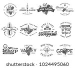 wine black logos  labels set.... | Shutterstock .eps vector #1024495060