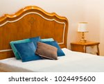 bedroom interior velvet pillows ... | Shutterstock . vector #1024495600