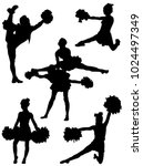 collection of silhouettes of... | Shutterstock .eps vector #1024497349