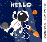 space background with astronaut ... | Shutterstock .eps vector #1024499740