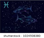 pisces zodiac sign and... | Shutterstock .eps vector #1024508380