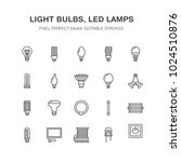 light bulbs flat line icons.... | Shutterstock .eps vector #1024510876