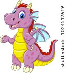 cartoon baby dragon presenting | Shutterstock .eps vector #1024512619