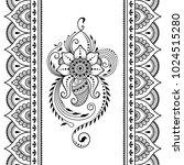 set of mehndi flower pattern... | Shutterstock .eps vector #1024515280