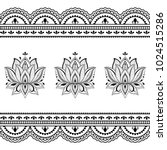 set of mehndi flower pattern... | Shutterstock .eps vector #1024515286