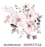 Stock photo decorative watercolor flowers floral illustration leaf and buds botanic composition for wedding 1024517116