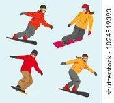 set of vector sportsmen... | Shutterstock .eps vector #1024519393