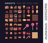 sweets tasty food pixel art... | Shutterstock .eps vector #1024522900