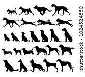 set of black dogs icon  | Shutterstock .eps vector #1024524550