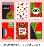 trendy memphis style watermelon ... | Shutterstock .eps vector #1024526476