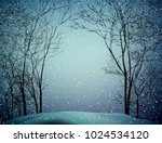 last winter snow  snowy weather ... | Shutterstock .eps vector #1024534120