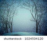 last winter snow  snowy weather ... | Shutterstock .eps vector #1024534120