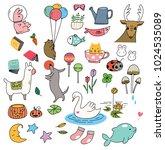 cute animal doodle | Shutterstock .eps vector #1024535089