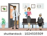 cartoon people are waiting and... | Shutterstock .eps vector #1024535509