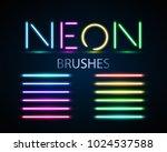 neon brushes set. set of... | Shutterstock .eps vector #1024537588