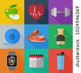 set of simple sport and healthy ... | Shutterstock .eps vector #1024546369