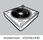 monochrome drawn turntable | Shutterstock .eps vector #1024561930