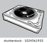 monochrome drawn turntable | Shutterstock .eps vector #1024561933