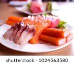 Small photo of Japanese sasimi salmon and Hamachi Amberjack Maguro seafood set