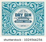 gin label with floral ornaments   Shutterstock .eps vector #1024566256