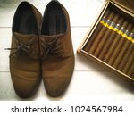 top view of brown shoes and... | Shutterstock . vector #1024567984