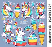 set of cute unicorn stickers ... | Shutterstock .eps vector #1024569529