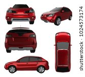 set compact city crossover red... | Shutterstock . vector #1024573174