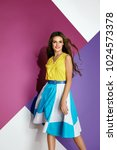 summer style. woman in colorful ... | Shutterstock . vector #1024573378