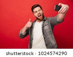 playful bearded man making... | Shutterstock . vector #1024574290
