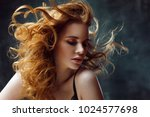 beautiful redheaded girl with... | Shutterstock . vector #1024577698