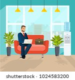 business man working in the... | Shutterstock .eps vector #1024583200