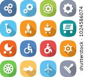 flat vector icon set   gear... | Shutterstock .eps vector #1024586074