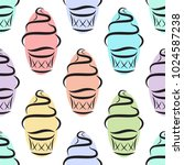ice cream logo. seamless vector ... | Shutterstock .eps vector #1024587238