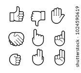 hand gestures. line icons set....   Shutterstock . vector #1024590619