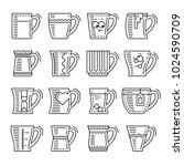 icons set of different cups.... | Shutterstock . vector #1024590709
