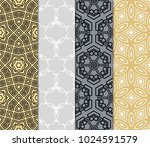 set of 4 geometric pattern ... | Shutterstock .eps vector #1024591579