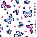 butterflies and hearts pattern...