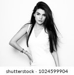 beautiful young woman with long ... | Shutterstock . vector #1024599904