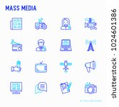 mass media thin line icons set  ... | Shutterstock .eps vector #1024601386