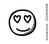 emoticon love eyes doodle style ... | Shutterstock .eps vector #1024604308