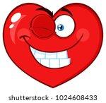 smiling red heart cartoon emoji ... | Shutterstock . vector #1024608433