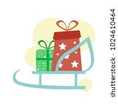 two new year's presents with... | Shutterstock .eps vector #1024610464